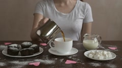 Making coffee with milk and marsh mallow Stock Footage