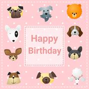 Cute happy birthday card with funny dogs - stock illustration