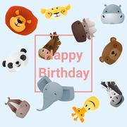 Cute happy birthday card with funny animals - stock illustration