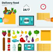 Banner and Icons of Delivery Food - stock illustration