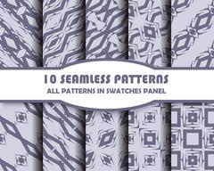 vector set of geometric seamless patterns for design - stock illustration