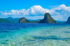 Scenic view of tropical sea bay and rock islands Stock Photos