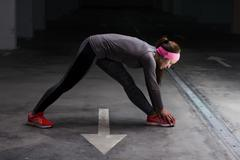 Fitness Sporty Active Woman, stretcjing workout practicing recreation trainin Stock Photos