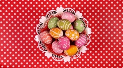 Easter eggs in basket rotating Stock Footage