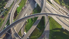 Unique flyover the complex road junction. Modern Russia Moscow aerial - stock footage