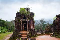 My Son temples in cloudy weather Vietnam - stock photo
