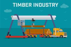 Overhead crane loads a logs in the truck. Vector banner. Stock Illustration