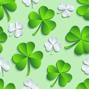 St. Patrick's day seamless pattern with clover - stock illustration