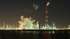 Refinery At Night Time Lapse Stock Footage