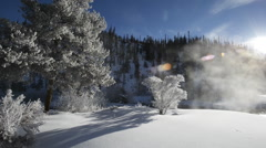 Scenic winter landscape pan Stock Footage