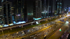 Skyscrapers lining Sheikh Zayed Road at dusk, Dubai Stock Footage