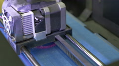 3D Printer works, close up Stock Footage