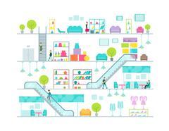 Shopping mall vector illustration Stock Illustration