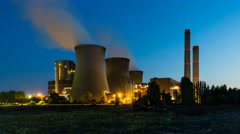 Coal Power Station At Night Stock Footage