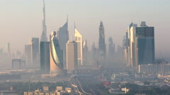 View of Downtown, early morning, Dubai Stock Footage