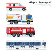 Types of airport transport isolated on white - stock illustration
