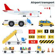 Different airport transport on white background Stock Illustration