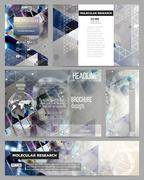 Set of business templates for presentation, brochure, flyer or booklet. DNA - stock illustration