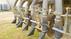 The muddy part of the vehicle for farming Stock Footage