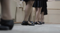 Dancers on the dance lessons. feet close-up Stock Footage