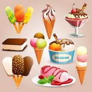 Ice cream set - stock illustration