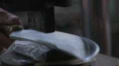 Stamping a Knife by a Taiwanese knives artist Stock Footage