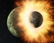 Attack of the asteroid on the planet Earth in the universe 3d rendering. Stock Illustration