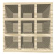 Empty wooden bookcase isolated on white background. Stock Illustration