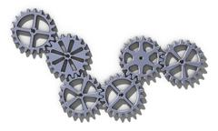 Metallic cogwheel set. 3D rendering illustration. - stock illustration