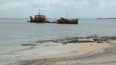 Wreck of commercial ship with beach in Marigot, St Martin. - stock footage