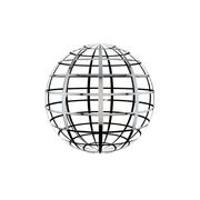 Sphere from metal grid isolated on white background. - stock illustration