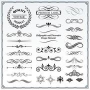 Calligraphic and Decorative Design Patterns - stock illustration