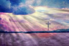The Cross of Jesus Christ and beautiful clouds - stock photo
