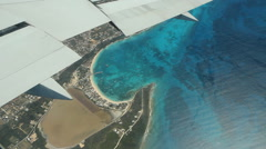 Flying over beach town of Sandy Ground in Anguilla. Stock Footage