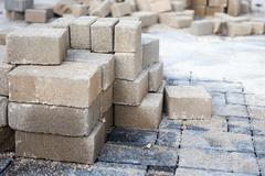 Stack of paving stone. Ready for construction Stock Photos