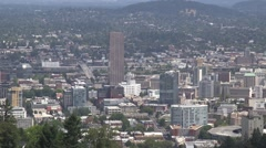 Portland Oregon Skyline From Pittock Mansion Stock Footage
