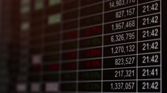 Stock market quotes table on screen - stock footage