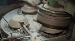 Industrial Production of Porcelain Tableware .Machine for Moulding Plates Stock Footage