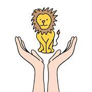 protecting endangered lion - stock illustration
