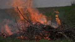 Brush Fire Burning in Slow Motion. - stock footage