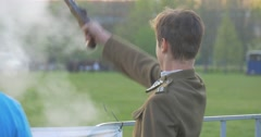 Young Guy Shoots From a Rare Pistol Stock Footage