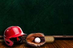 Baseball Equipment and Chalk Board with Copy Space - stock photo