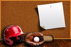 Baseball Equipment and Cork Board Copy Space - stock photo