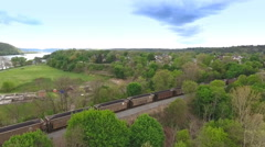 Aerial View Coal Train in Western Pennsylvania Stock Footage