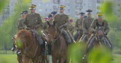 Opole City Day Serious Men Riding War Horses Vintage Uniform of World War the Stock Footage