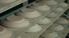 Industrial Production of Porcelain Tableware .Plaster Molds for Plates on the Stock Footage