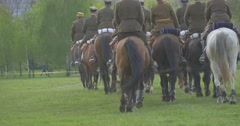 Training of Military Dressed in Vintage Uniform Riding on Horses in Summer Day Stock Footage