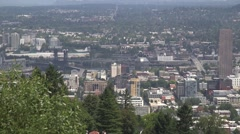 Portland Oregon From Pittock Mansion Stock Footage
