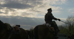 Several Polish Cavalry in the Meadow Stock Footage