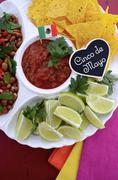 Cinco de Mayo party table with food platter. Stock Photos